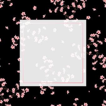 Momo-pfirsich-blumenrahmen schwarz-hintergrund