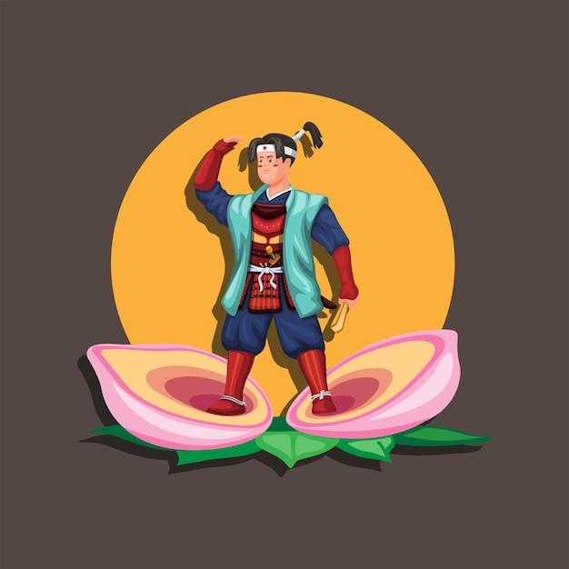 """Momotaro ist ein beliebter held der japanischen folklore. sein name bedeutet übersetzt """"pfirsich-taro-figur"""""""