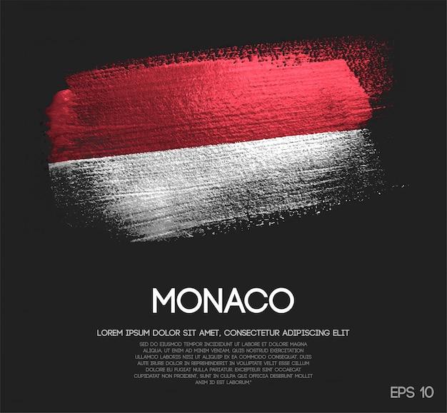 Monaco flagge aus glitter sparkle pinselfarbe