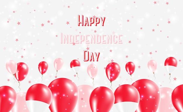 Monaco unabhängigkeitstag patriotisches design. ballons in den monegassischen nationalfarben. glückliche unabhängigkeitstag-vektor-gruß-karte.
