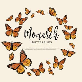 Monarchfalter zusammensetzung Premium Vektoren