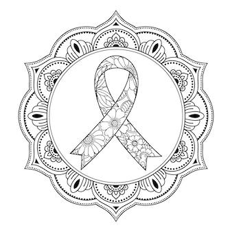 Monat des bewusstseins für brustkrebs. kreisförmiges blumenmuster mit einem bandsymbol im mehndi-stil.