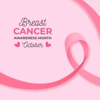 Monat des bewusstseins für brustkrebs mit realistischem rosa band