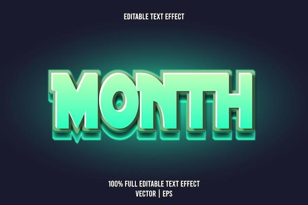 Monat editierbarer texteffekt 3-dimensionale prägung im neonstil