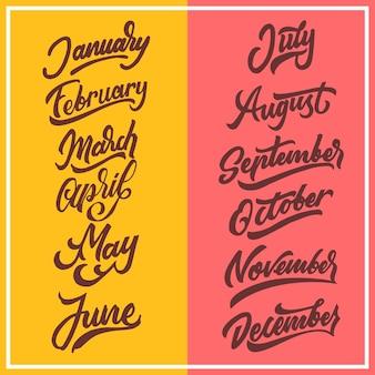 Monate des jahres handgezeichnete schriftzug typografie