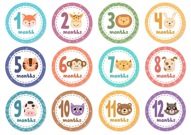 Monatliche babyaufkleber mit niedlichen tieren.