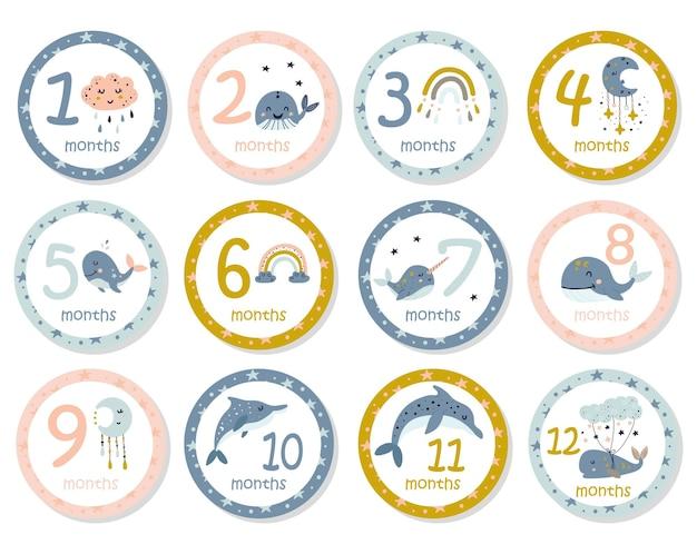 Monatliche babyaufkleber mit niedlichen walen.
