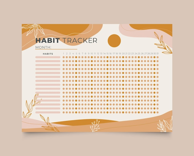 Monatliche habit tracker vorlage