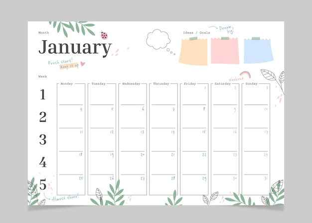 Monatlicher bullet journal planer
