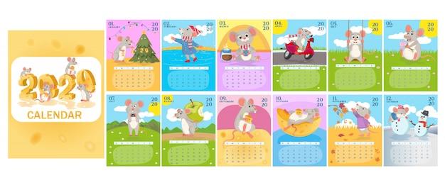 Monatlicher kreativkalender 2020 mit süßen ratten oder mäusen. symbol des jahres im chinesischen kalender.