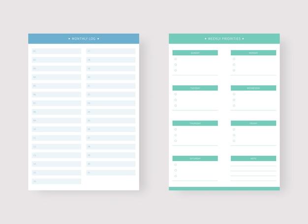 Monats- und wochenplaner-vorlage set mit planer und aufgabenliste
