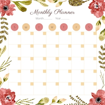 Monatsplaner mit aquarellblumenrahmen