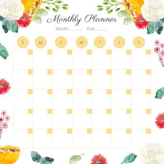 Monatsplaner mit niedlichen blumen aquarell rahmen