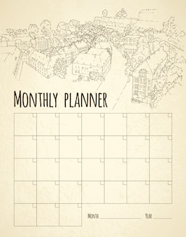 Monatsplaner mit stadtskizze