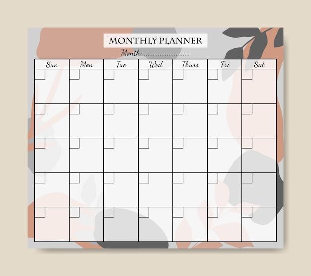 Monatsplaner-vorlage mit grau-orangefarbenem abstraktem hintergrund zum ausdrucken