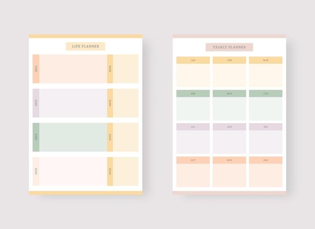 Monatsplaner-vorlage set mit planer und aufgabenliste