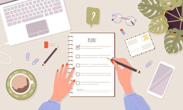 Monatsplanung oder checklistenkonzept. frau, die tag oder woche plant.