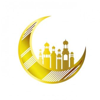 Mond, der mit ramadan-kareem moscheegebäuden hängt