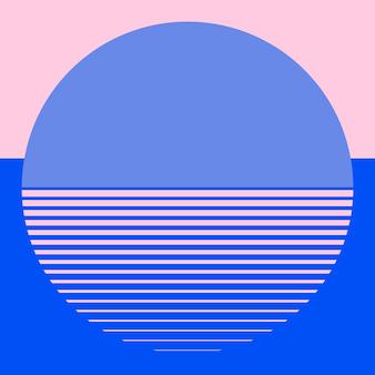 Mond geometrischer retrofuturismus-hintergrundvektor in rosa und blau