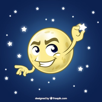 Mond hintergrund einen stern fangen