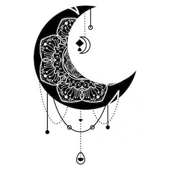 Mond, mandala blumenschmuck hand gezeichnet isoliert
