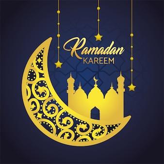 Mond mit dem schloss und sternen, die zu ramadan kareem hängen