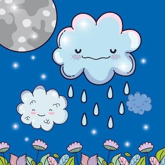 Mond mit glücklichen flauschigen wolken regnet