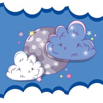 Mond mit traurigen flauschigen wolken und sternen