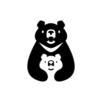Mond schwarzbär mama sonnenjunges kinder eltern umarmung logo vektor icon illustration