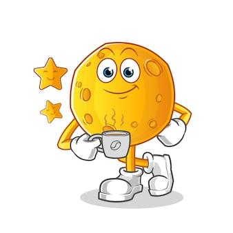Mond trinkt kaffee-zeichentrickfigur