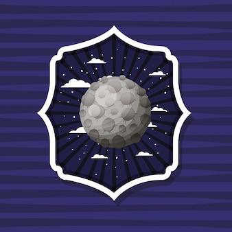 Mond über gestreiftem etikett