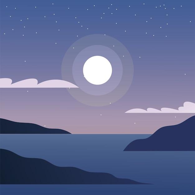 Mond über meer design, landschaft natur umwelt und outdoor-thema
