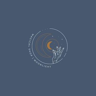 Mond und hand magisches logo