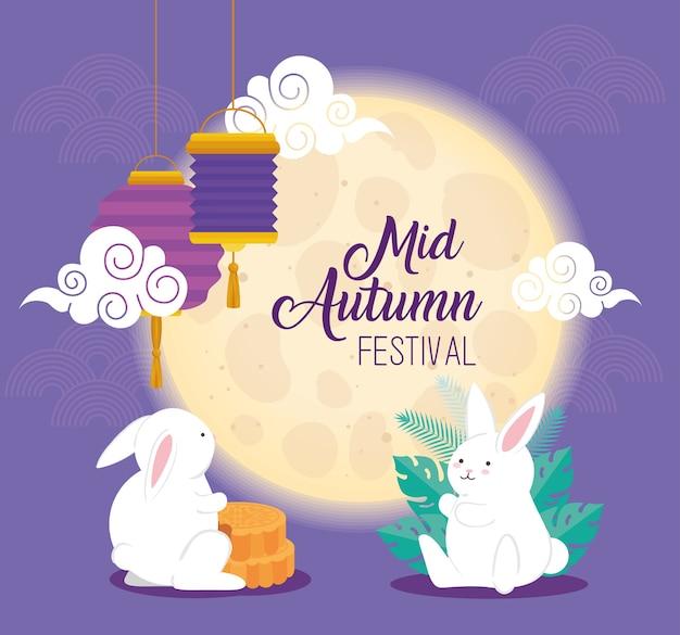 Mond und kaninchen mit mondkuchen und laternenentwurf, glückliches mittherbsterntefest orientalisches chinesisches und feierthema