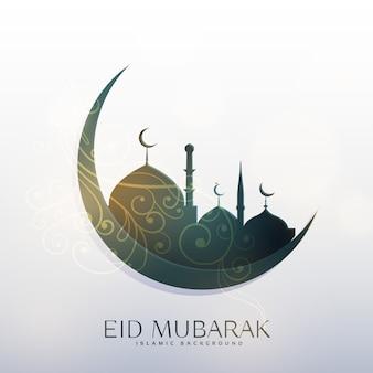 Mond und moschee mit blumendekoration für eid festival gruß