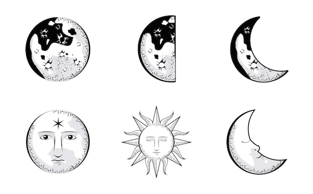 Monde und sonnen untergehen