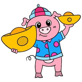 Mondfeierschweine, die schätze aus goldbarren tragen, gekritzel zeichnen kawaii. illustrationskunst