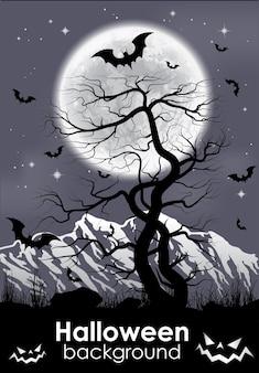 Mondhintergrund mit berg, altem baum und schwarzen fledermäusen