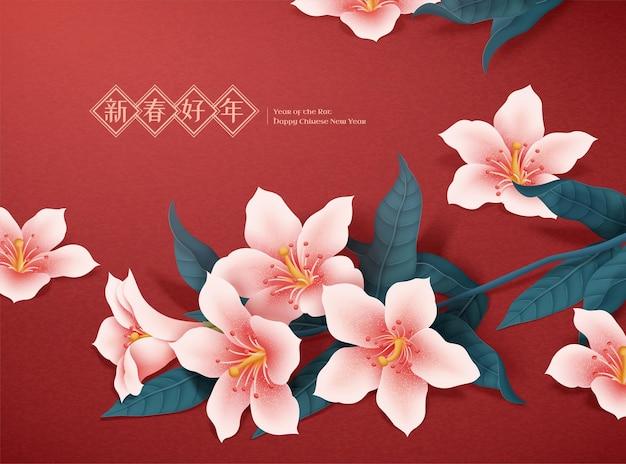 Mondjahrillustration mit rosa lilie und laub auf rotem hintergrund