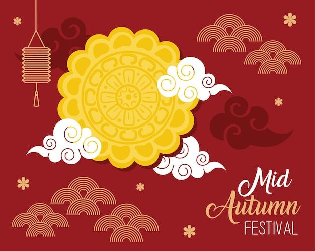 Mondkuchen mit laternen- und wolkendesign, glückliches orientalisches chinesisches und feierthema des erntefestes mitten im herbst