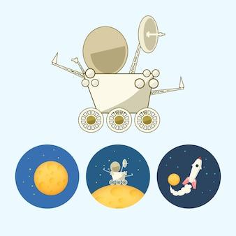 Mondläufer, rover. set aus 3 runden bunten symbolen, mond mit sternen, der mondrover geht auf den mond, das raumschiff fliegt vom mond auf, vektorillustration