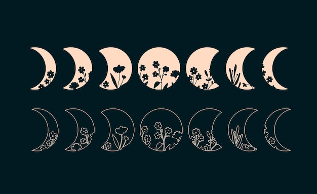 Mondphasen mit floralen böhmischen phasen der mondillustration silhouette und umriss