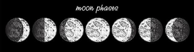 Mondphasen. mondphasenikone im skizzenstil lokalisiert auf weiß