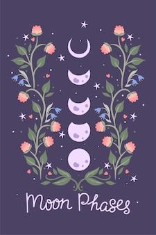 Mondphasen und blumen