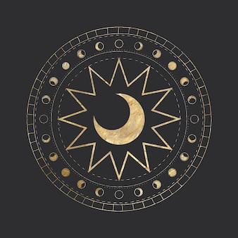 Mondphasen. verschiedene stadien der mondlichtaktivität.