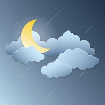Mondschein und sternschnuppenpapierkunstvektor