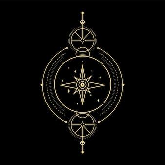 Mondsternkristall sonnenwelle und heilige geometrie für spirituelle führung tarotkartenleser tattoo