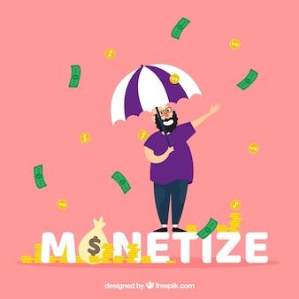 Monetarisieren sie wort konzept