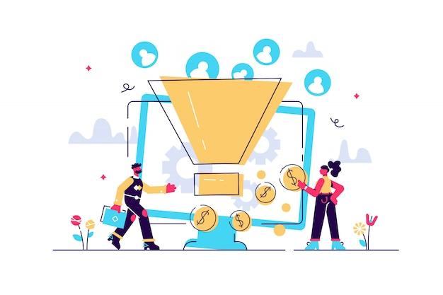 Monetarisierungstipps. strategie zur steigerung der conversion-raten. anhänger anziehen. generieren sie neue leads, identifizieren sie ihre kunden, smm-strategiekonzept. helle lebendige violette isolierte illustration