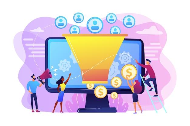 Monetarisierungstipps. strategie zur steigerung der conversion-raten. anhänger anziehen. generieren sie neue leads, identifizieren sie ihre kunden, smm-strategiekonzept.